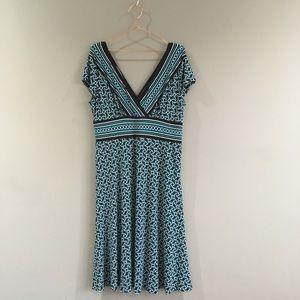 Maggy London | Black Blue Surplice Dress 14